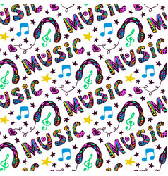 Doodle music seamless pattern with headphones and vector