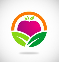 Eco vegetarian fruit logo vector