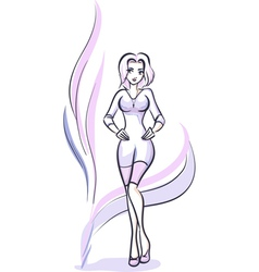 Fashion girl color vector