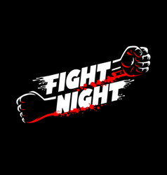 fight night lettering fists clenched mma cage vector image