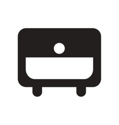 Flat icon in black and white style nightstand vector