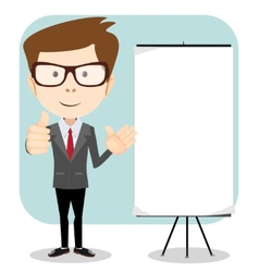 Friendly businessman pointing to blank billboard vector image vector image