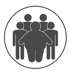 Group of fat and skinny people obesity concept vector