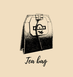 Hand drawn tea bag isolated retro vector