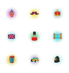 Holiday in united kingdom icons set pop-art style vector