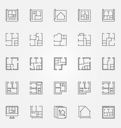 house plans icon set vector image vector image