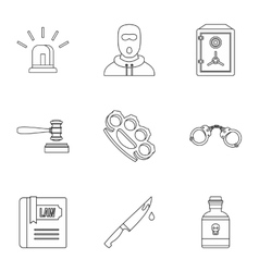 Offense icons set outline style vector image