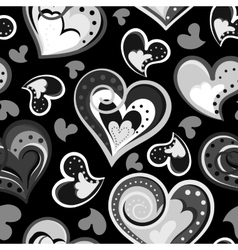 Seamless hand drawn pattern with hearts Black and vector image