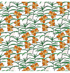 seamless pattern with sea buckthorn bright berry vector image vector image