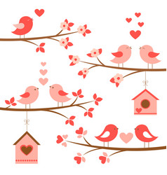 Set of cute birds in love on blooming branches vector