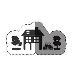 sticker of black silhouette of family away from vector image vector image