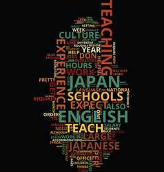 Teach english in japan text background word cloud vector