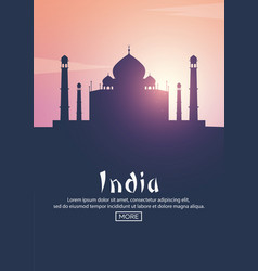 travel poster to india landmarks silhouettes vector image vector image