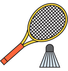 Two badminton racket and shuttlecock vector image