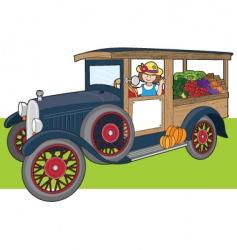 veggie truck vector image vector image