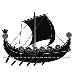 viking ship with oars and shields vector image