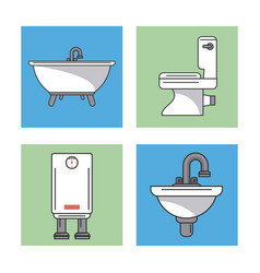 White background with frames of bathroom elements vector