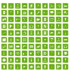 100 renovation icons set grunge green vector