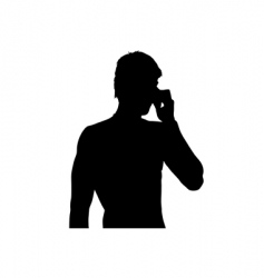 Young man on mobile phone vector