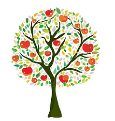 Apple tree at the autumn vector image