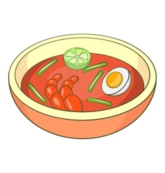 Asian soup icon cartoon style vector