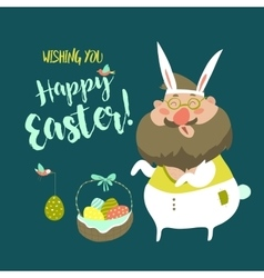 Funny man in easter bunny costume vector