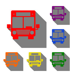 Bus sign  set of red orange yellow vector