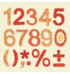 Textured Numbers Set vector image