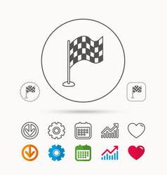 Racing flag icon finishing symbol vector