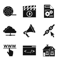cloud service icons set simple style vector image