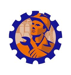 worker hardhat spanner cog vector image