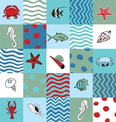 Seamless pattern with marine life vector