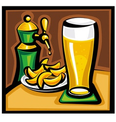 Beer and chips vector