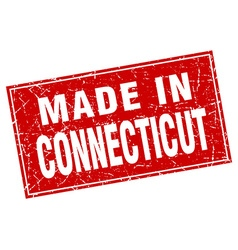 Connecticut red square grunge made in stamp vector