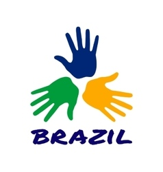 Three hand print icon - brazil flag colors vector