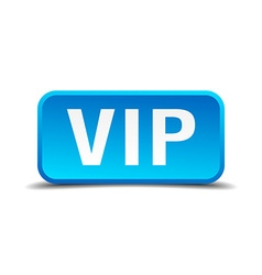 Vip blue 3d realistic square isolated button vector