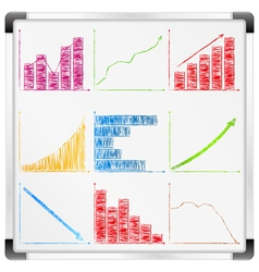 Whiteboard with graphs vector image