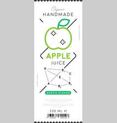 apple juice label in trendy linear style vector image vector image