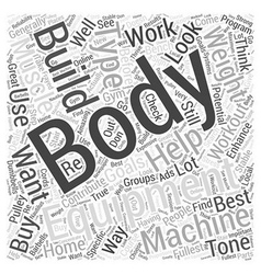 Body building equipment word cloud concept vector