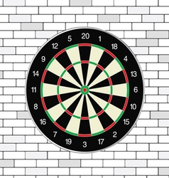 Brick walll with dartboard on it vector
