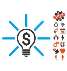 Business idea bulb icon with valentine bonus vector