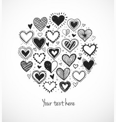 card with doodle sketch hearts and place for your vector image vector image