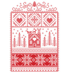 Christmas pattern with gingerbread house reindeer vector