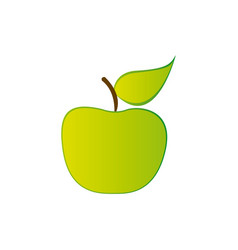Colorful silhouette green apple fruit food vector