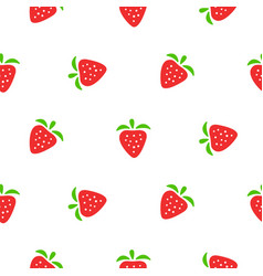 cute strawberry red and white seamless pattern vector image