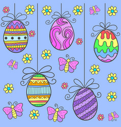 Doodle of easter egg flower and butterfly vector
