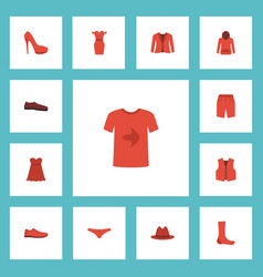 Flat icons casual evening dress fedora and other vector