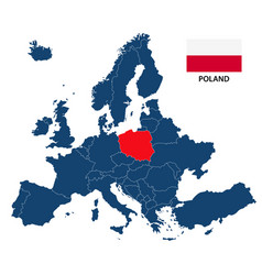map of europe with highlighted poland vector image