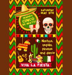 Mexican poster for cinco de mayo fiesta vector