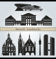 Munich landmarks and monuments vector image vector image